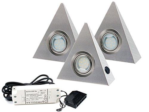 3er Set LED Dreieckleuchte Unterbauleuchte Küchenleuchte EDELSTAHL 2,5W Warmweiß mit Zentralschalter