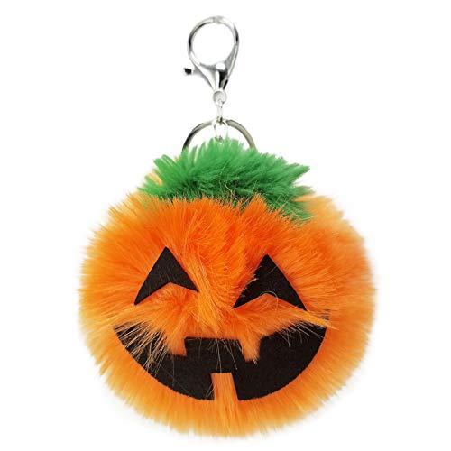 (HEOLI Plüschball Schlüsselanhänger Halloween Kürbis Lampe Anhänger Tasche Auto Schlüssel Ornamente Geschenk (Orange))