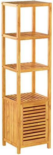Relaxdays Badregal Bambus mit 5 Ablageflächen HxBxT 140x36,5x33 cm praktisches Holzregal mit mehreren Ebenen und Schrankteil mit magnetischem Verschluss mit Stauraum für Bad und Wohnzimmer, natur