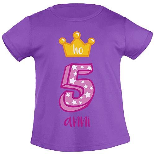 Buon Compleanno! Ho 5 Anni! Corona da Principessa T Shirt Maglietta Bambina