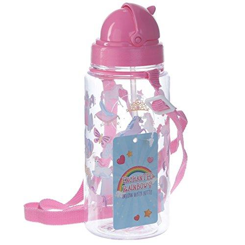 Puckator Enchanted Rainbow Einhorn Trinkflasche mit Strohhalm, Pink