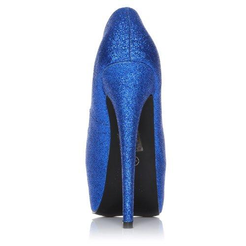Donna Blau Glitzer Pumps mit sehr hohem Absatz und Plateau Blau Glitzer