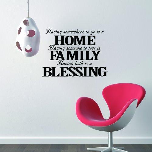 Having Somewhere to go è casa-Benedizione famiglia love scritta vinile adesivo decalcomania per parete Home Decor, Vinile, Custom, 34