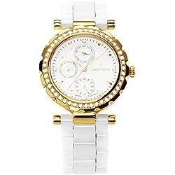 Stella Maris STM15R7 - Montre Femme Quartz Analogique Cadran blanc Bracelet Céramique blanc avec diamants et éléments Swarovski