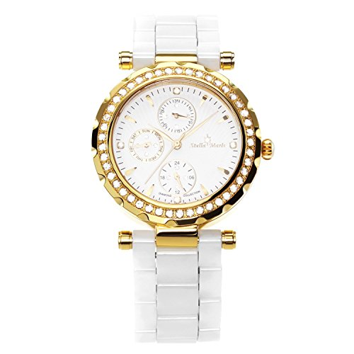 Stella Maris Damen-Armbanduhr Analog Quarz Premium Keramik Diamanten - STM15R7
