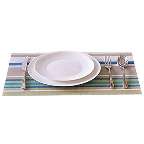 4 PCS Décorations de table / Mat Résistance Skid / Tricot Set Candy Stripe Vert