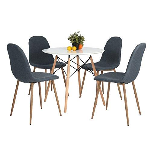 H.J WeDoo Table Ronde a Manger de 2 a 4 Personnes scandinave laqué et Pieds hetre Massif - 80 x 75 cm (Blanc)