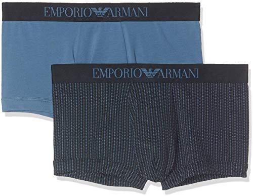 Emporio Armani Underwear Herren 2 Pack Trunk Multipack Pattern Mix Badehose, Blau (RIGA Decor MAR/IND. 61035), Medium (Herstellergröße:M) (2er Pack)
