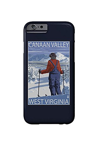 Canaan Valley, West Virginia - Skier Admiring View (iPhone 6 Cell Phone Case, Slim Barely There)