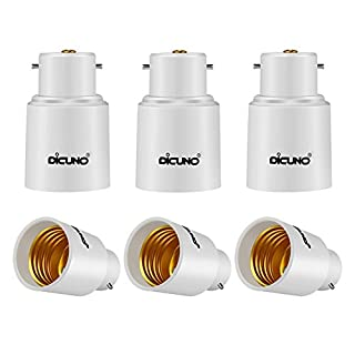 DiCUNO 6-Pack B22 to E27 Socket Converter Socket Adapter High Quality Lamp Base Adapter for LED Bulbs and Incandescent Bulbs and CFL Bulbs