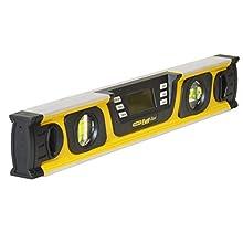 Stanley 0-42-063 Niveau Tubulaire Digital - Gamme Fatmax - Écran LCD Rétro-Éclairé - Écran Auto-Réversible Lecture 360° - Précision Numérique 0.10° - Plusieurs mode - Fourni avec Sac de Protection