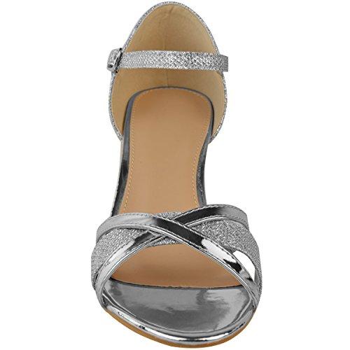 Fashion Thirsty heelberry Womens Ladies Tacco Basso Sposa Matrimonio Argento Sandali da Cerimonia Scarpe con Cinturino Punta Aperta Argento metallizzato