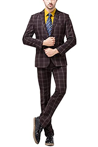 Tsui-Fashion Men's Plaid Vest Business One Button Suits