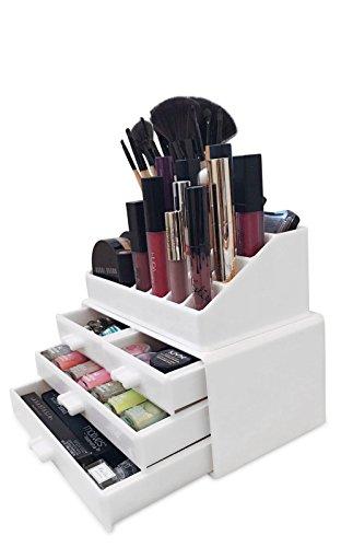 Oi LabelsTM acrílico blanco maquillaje/Cosmético/Joyería/Esmalte De Uñas Organizador Soporte Expositor (con alta calidad 3mm acrílico). En caja de regalo.