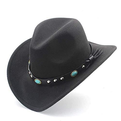 Deawecall Sombreros y Gorras Moda Mujer Hombre Western Cowboy Hat con Roll Up ala de Fieltro Cowgirl Sombrero Gorras (Color : Negro, tamaño : 56-58CM)