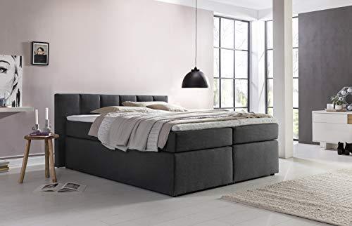 Furniture for Friends Boxspringbett Valina 180x200cm Anthrazit H3 inkl. Lieferung ins Schlafzimmer & Visco-Topper, Taschenfederkern-Matratze, ideal für Dachschrägen