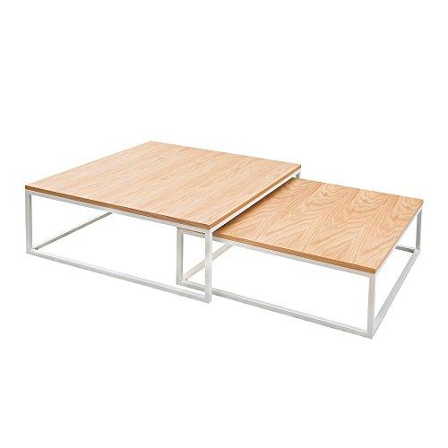 Design Couchtisch 2er Set BIG FUSION Eiche weiß Satztische Wohnzimmertisch Tischset