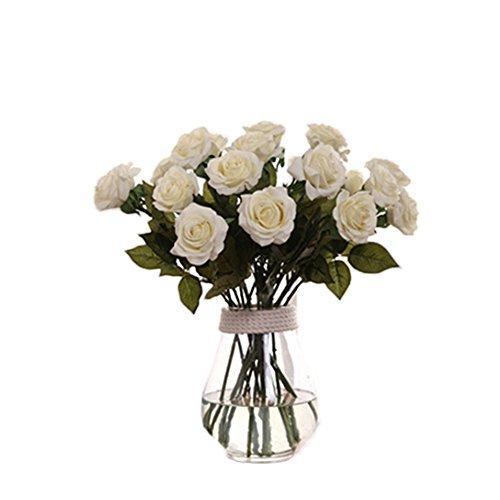 de künstliche Rose Blumen, Weiß Rosen, Home Dekor für Hochzeit Geburtstag Party Bridal Bouquet Blume (Bridal Party Dekor)