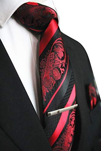 JEMYGINS Mode Blumen Krawatten und Einstecktuch mit krawattenklammer Sets für Herren, Rot, M Krawatte