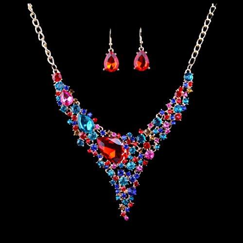 MagiDeal Bijoux De Femme Fille Collier Boucle D'oreille Fête De Mariage Cadeaux D'Anniversaire à La Mode Attrayante Multicolore