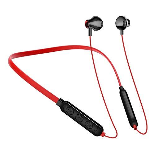 LQIAN G02 Kabellosen Bluetooth Kopfhörer Kompatibel mit In-Ear-Kopfhörer mit Mikrofon Portable HiFi Blueteeth V4.2, 6 Stunden Spielzeit und Mikrofon Schwarz Rot Weiß (rot)
