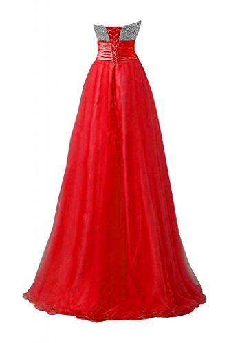 Sunvary Charming Sweetheart Gowns scollo basso da donna, per abiti da sera Pageant Maxi Red