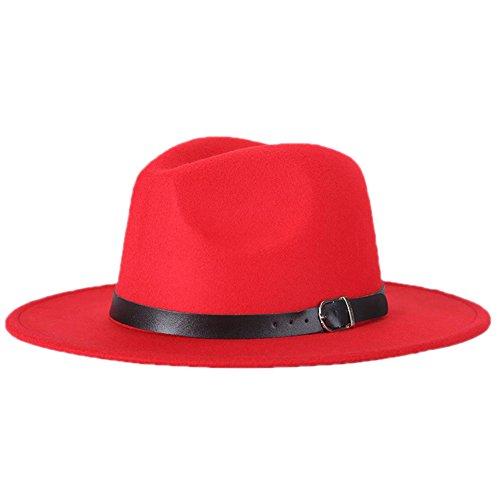Leisial™ Unisex Herbst und Winter Filz Trilby/Fedora/Panama Kappe/Mützen Hut Rot 57CM