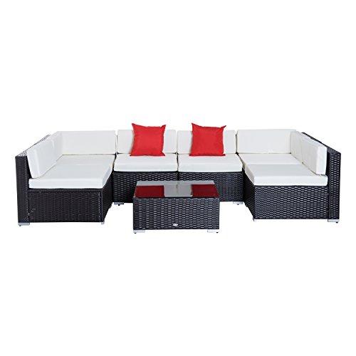 Outsunny set mobili da giardino rattan poltrone tavolino 7pz con cuscini balcone esterno