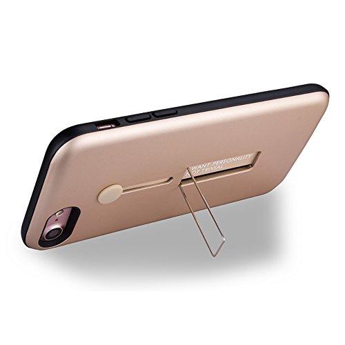 """MOONCASE iPhone 7 Coque, Ultra Slim Robuste PC Bumper Housse Dual Layer Antichoc avec Support Protection Kits Case pour iPhone 7 4.7"""" Argent Noir"""