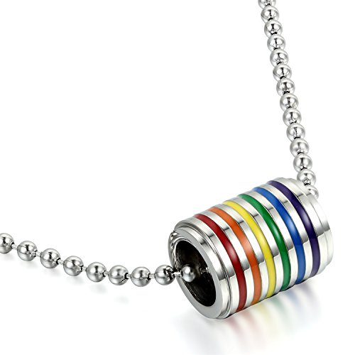 JewelryWe Schmuck Homosexuell LGBT Gay & Lesbian Pride Halskette, Regenbogen Zylinderrollen Tunel Anhänger,Edelstahl Kette mit 61.5cm Länge, Silber Mehrfarbig