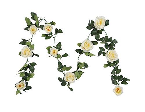 Houda ghirlanda vintage di fiori artificiali in falsa seta per decorazione foglie di piante sospese, per casa, giardino, muri, matrimoni. 1 pezzo champagne