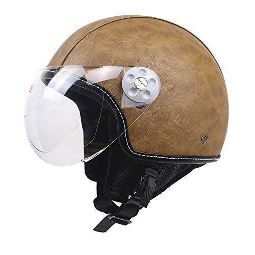 YAUUYA Jet Halbhelm Motorradhelm offenes Gesicht Pilot Leder Cruiser Chopper mit Brille Fahrrad Roller Kopfschutz DOT Zertifiziert Vintage Harley Erwachsene Männer und Frauen, M/L/XL -