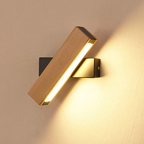 LED Apliques Interior giratorio Multi de modelo iluminación de pared aluminio Madera Madera Color lámpara de pared Cama Decorativa, hierro, Holzfarbe, 21 cm, None 4.00watts 220.00volts