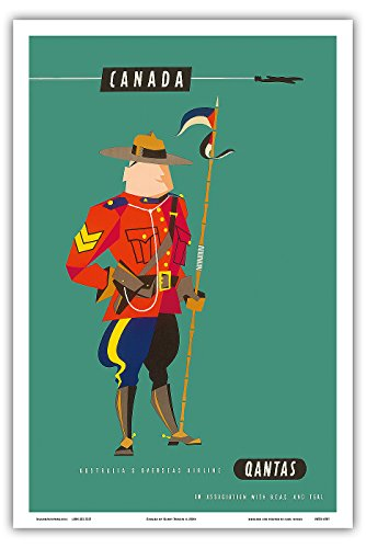 canada-royal-canadian-mounted-police-mountie-qantas-empire-airways-qea-vintage-airline-travel-poster