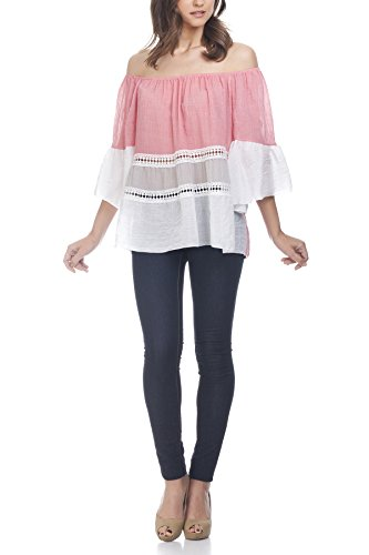 Laura Moretti - Dreifarbige Bluse mit Stickstreifen Fuchsia