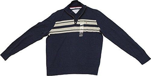 Tommy Hilfiger Mens Half Zip Mock Neck Sweater (Large, Core Navy) (Mock Core Neck)