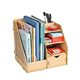 HomJoy Multi-Functional Wooden Desktop Organiser, DIY Desk Tidy Stationary Storage Cabinet with 2