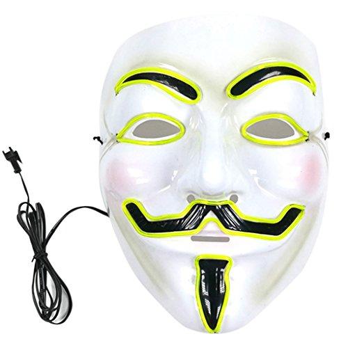 Nankod Máscara de Halloween fantasma con luz LED brillante EL Wire Cosplay Full Face Mask Halloween Masquerade Party Cosplay Costume Props Herramientas