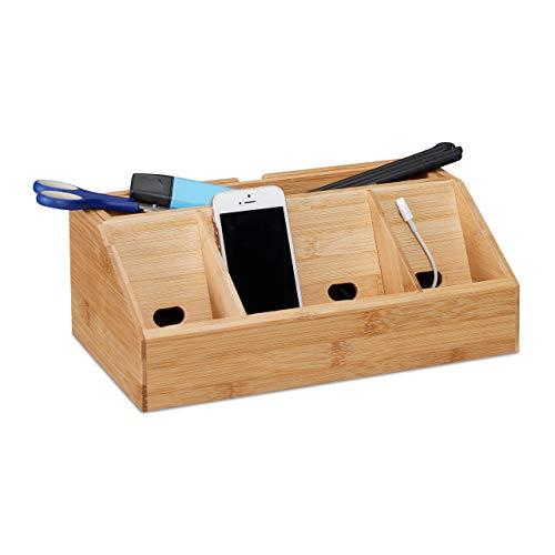 Relaxdays Bambus H x B x T: ca. 11 x 30 x 17,5 cm inklusive Handyhalter auch als Ladestation Aufbewahrungsbox Büro mit 5 Fächern, Natur Schreibtisch-Organizer, 17.5 x 30 x 11 cm