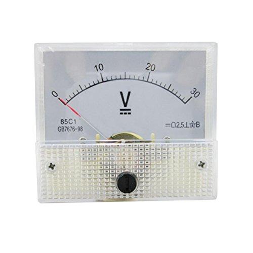 LEORX Mini misura 85 1 DC 0-30V ago analogico Volt tensione pannello metro (bianco)