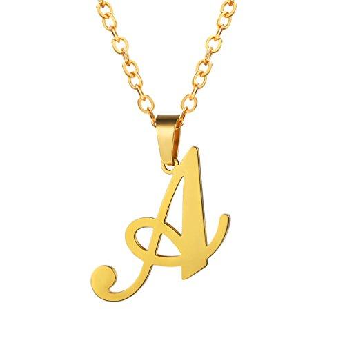 ift Anfangsbuchstabe A Halskette 18k vergoldet Edelstahl Buchstabe Alphabet Anhänger mit Kette Damen Herren Modeschmuck ()
