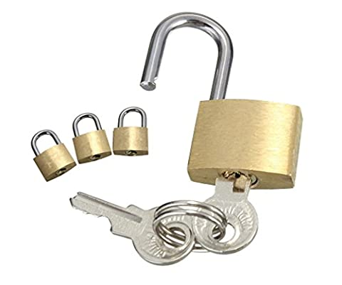 C63® Pack of 3 Brass Padlocks for Suit Case, Travel Bag, Laptop, Hand Luggage Etc