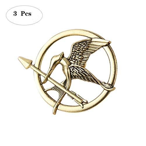 (Formemory 3Pcs Hunger Games Pin / Brosche Tribute von Panem Bronze Silber Brosche,Katniss Mockingjay Brosche (Gold))