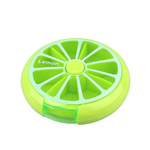Morepack 7 Tage Pillendose Rund Medikament Box Tablettendose Vitamin Aufbewahrungsbox (Green)