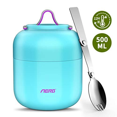 Aerb Thermobehälter für Essen 500ml BPA frei   Edelstahl Warmhaltebehälter Isolierbehälter Lunchbox für warme Speisen, Babynahrung, Suppe (Blau)