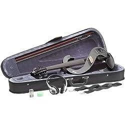 Stagg EVN 4/4 MBK - Violín eléctrico (set completo), color negro metálico