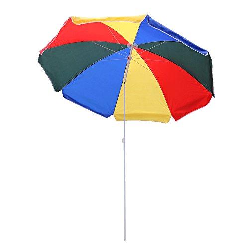 WIS Hengda® 2.0m Bunt Sonnenschirm Garten Schirm Marktschirm Ampelschirm Kurbel Schirm für Garten, Terrasse, Loggia, Balkon, Camping-Platz, Pool, Planschbecken