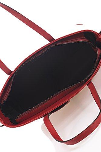 Laura Moretti - Borsa in pelle con scomparti esterni (stile TOTES) Rosso