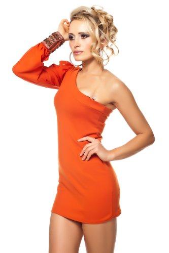 One Shoulder Party Minikleid mit Ethno Manschette Orange