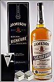 Jameson Signature 1 Liter irish Whiskey mit 2 Original Edelstahl Kühlsteine im Smoking, kostenloser Versand